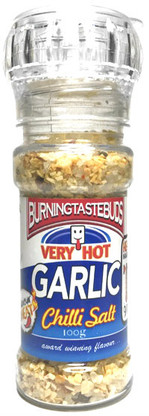 Very Hot Garlic Chilli Salt A superb blend of ingredients to add real flavour to your cooking and meals. Use on any food where you want a touch of garlic and a spicy taste. Yum!