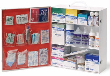 Empty First Aid Kits - 3 Shelf Metal Cabinet w/ Pockets