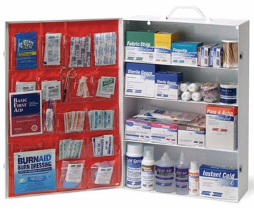 First Aid Metal Cabinet - 4 Shelf Empty - w/Pockets