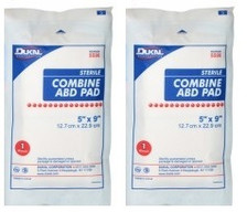 "2 - Combine Gauze Pad - 5"" x 9"" STERILE Dressing"