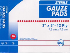 """STERILE Gauze Pads 3"""" x 3"""" - 10 Count Box, individually wrapped."""