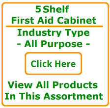 """Products shown are included in 5 Shelf Cabinet - All Purpose Fill See """"Product Description"""" for detailed list of contents"""