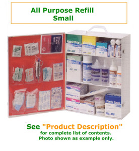 Complete variety of products to resupply an empty small all purpose cabinet. Have all of the products you need to be prepared for your Workforce with all purpose needs