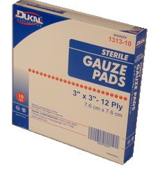 "Gauze Pads 3"" x 3"" STERILE - Individually Wrapped - 10 Count"