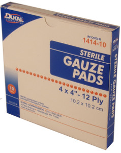 "Gauze Pads 4"" x 4"" - Sterile 12 Ply - Individually wrapped - 10 Per Box"