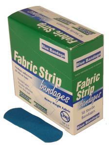 Heavy Duty Blue Metal Detectable Fabric Strip Bandages – 50 Count Dispenser Box