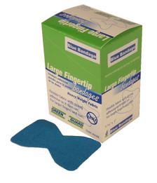 Heavy Duty Blue Metal Detectable Fabric Fingertip Bandages – 25 Count Dispenser Box