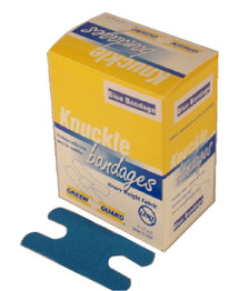 Heavy Duty Blue Metal Detectable Fabric Knuckle Bandages – 40 Count Dispenser Box