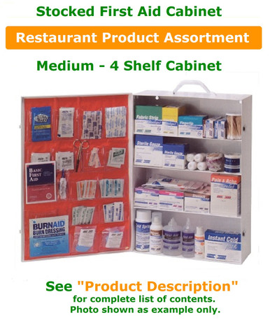 First Aid Kit (Cabinet) – Stocked – Restaurant Product Fill – 4 Shelf with Pockets