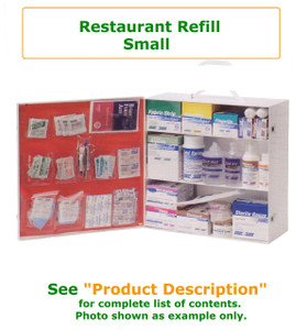 Complete variety of products to resupply an empty small restaurant cabinet. Have all of the products you need to be prepared for your restaurant Workforce.