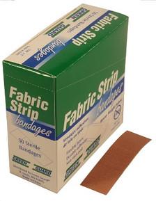 Heavy Duty Fabric Strip Bandages – 50 Count Dispenser Box