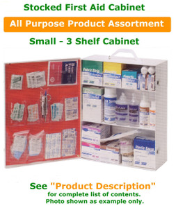 3 Shelf Cabinet show with generic product fill. See product description or included photo for list of products included in this assortment.
