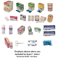 Complete variety of products to resupply a basic restaurant cabinet. Have all of the products you need to be prepared for your restaurant Workforce.