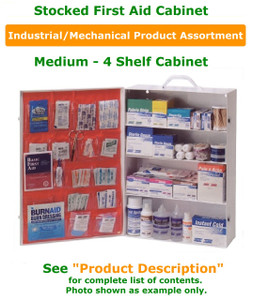 First Aid Box Wall Mounted - 4 Shelf Stocked Kit w/ Industrial/Mechanical Product Fill