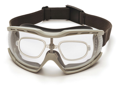 Exceeds ANSI Z87.1 High Impact Requirements;  *CE EN166 Certified; *Exceeds CAN/CSA Z94.3-07 Standards; *AS/NZS 1337  CAPSTONE 600 SERIES FEATURES  • Modern co-material goggle provides superior protection against dust entry and chemical splash.  • Thermoplastic (TPE) body with universal nose bridge is flexible and contours to the user's face.  • Polycarbonate lens provides impact resistance against flying particles.  • Indirect ventilation system prevents fogging by providing a sufficient outlet for body heat.  • Includes interchangeable cloth and neoprene straps.  • Exceeds MIL-PRF 32432.  • OPTIONAL INSERT slides up and down for perfect placement.  • OPTIONAL RX LENSE insert easily snaps securely into place above nosepiece.  • Extremely lightweight for comfort.  • Includes micro-fiber storage case for protection.  *Take insert to local optometrist for Rx lens installation