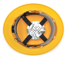 Hard Hat Full Brim Style - View of 4 Point Ratchet Suspension
