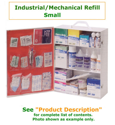 Complete variety of products to resupply an empty large Industrial/Mechanical company cabinet. Have all of the products you need to be prepared for your industrial/Mechanical Workforce. Contents Only No Metal Cabinet Included