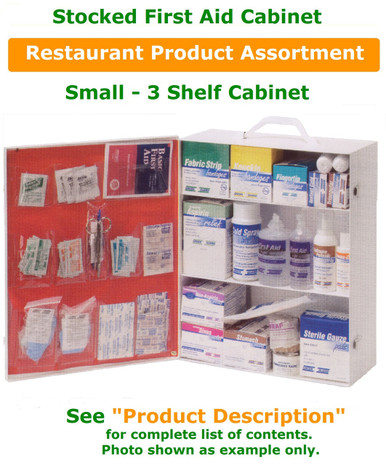 3 Shelf Cabinet Stocked for Restaurant environment