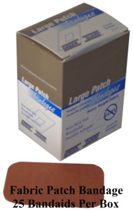 Heavy Duty Fabric Patch Bandages – 25 Count Dispenser Box