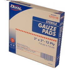 "1 – STERILE Gauze Pads 3"" x 3"" – 10 Count Box, Individually Wrapped"