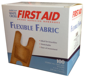 "Flexible Fabric Knuckle Adhesive Bandages 1 1/2"" x 3"" - 100/Box"