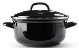This BK Dutch Dutch oven works on all stove tops including induction and is oven safe up to 500F/260C and Dishwasher Safe.  The recessed lid, helps prevent boil overs and the BK Dutch Dutch oven has welded heatproof handles, quick heat conduction and optimum heat retention for energy-saving cooking.  Easy to clean, on-porus closed ceramic surface, cut and scratch resistant.  Made in Germany.