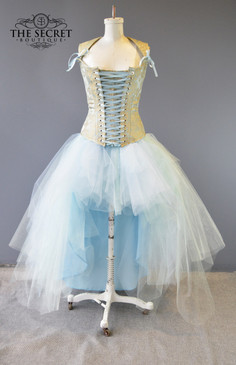 light blue high low fairy tulle skirt