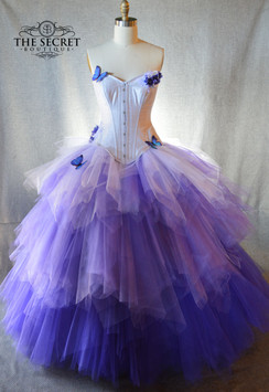 ombre corset gown purple