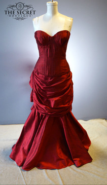 Gothic bustle wedding dress red