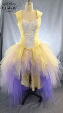 Custom made yellow and pink corset dress