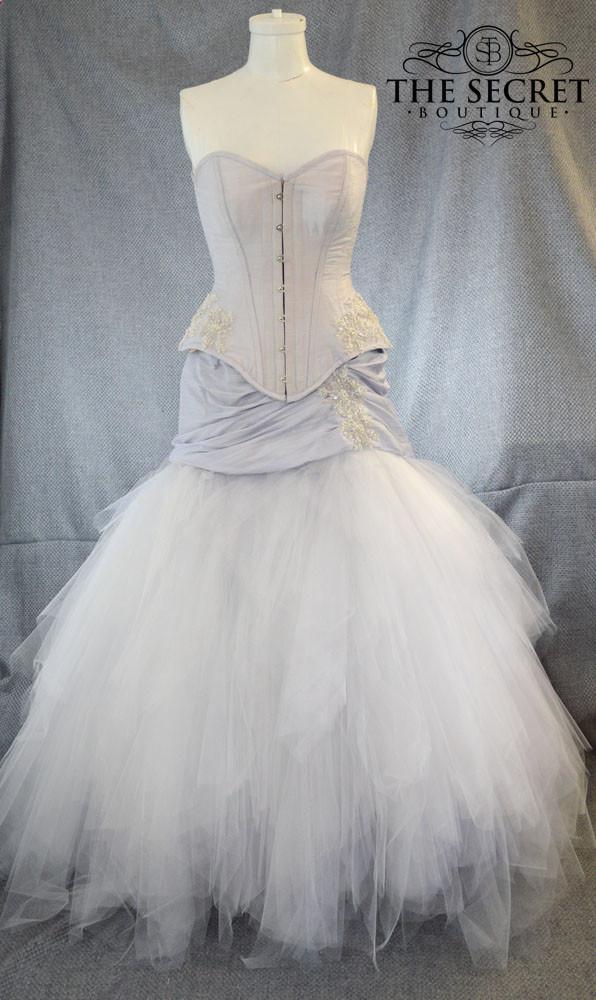 Silver White Lavendar Unique Denver Custom Wedding Gown