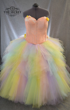 Pastel rainbow ombre tulle wedding skirt
