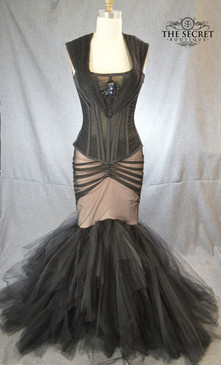 gothic wedding dress nude and black Colette