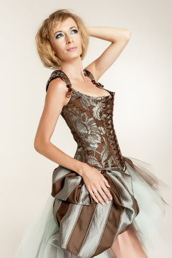 steampunk damask corset in brown and teal