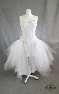"""""""Moonflower"""" high low tulle holographic corset dress"""