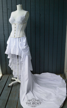 Lace and cotton steampunk wedding dress