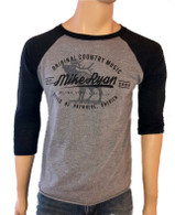 Mike Ryan Elk Baseball Tee- Charcoal/ Heather Grey