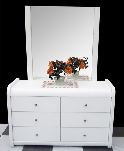 Relatively White leather dressing table with 6 drawers TU09