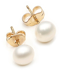 5mm white pearl studs