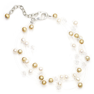 floating cream and gold pearl bridal bracelet