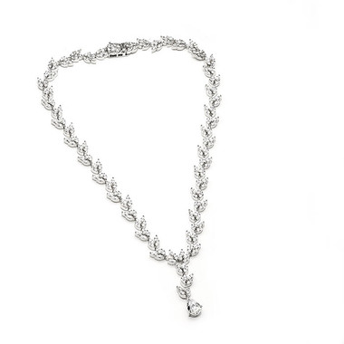 Cubic Zirconia and diamante bridal necklace