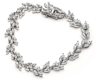 Evangeline cubic zirconia and diamante wedding bracelet
