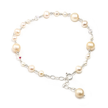 cream pearl and swarovski crystal wedding bracelet