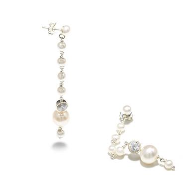 long pearl drop wedding earrings