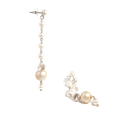 long pearl drop bridal earrings