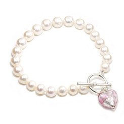 pink murano heart charm and pearl bracelet just right for a bridesmaids gift