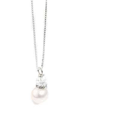 Pearl and crystal bridal pendant