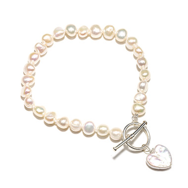 pearl heart charm bracelet lovely as a bridesmaids bracelet