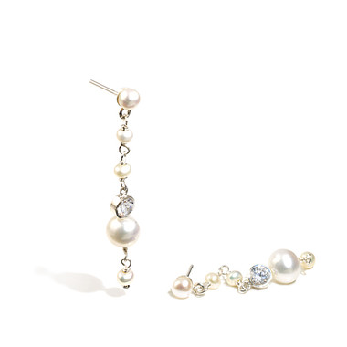 Abbey cream pearl and diamante drop bridal earrings