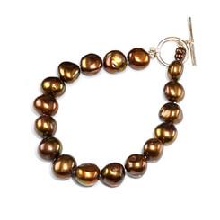 Valentia bronze brown baroque pearl bracelet